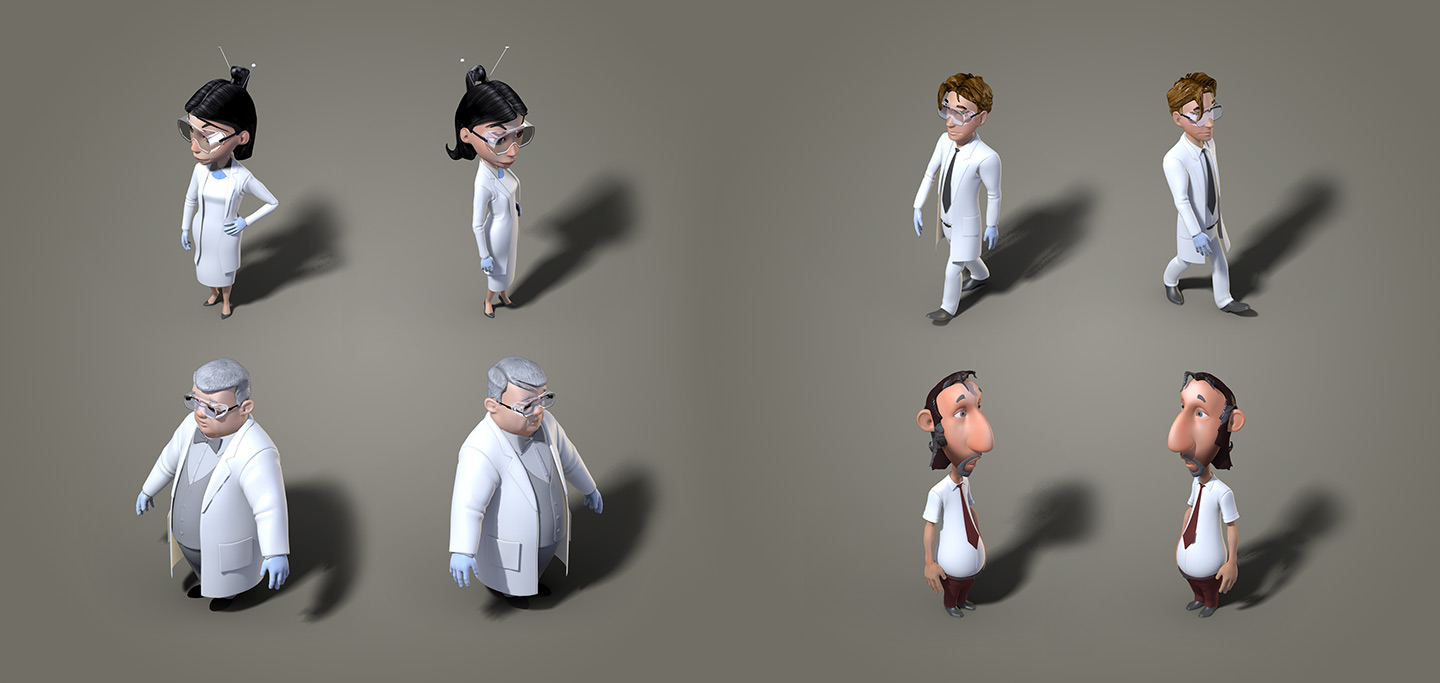3d-io merck safety lab game 3d-characters